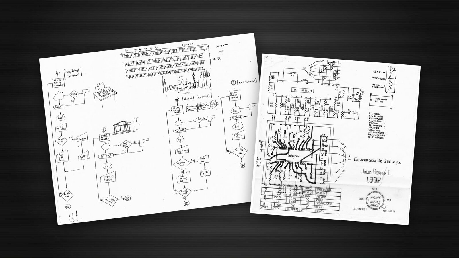 XBitcoin and first sound machine, very thin line drawings (1992 and 1982)