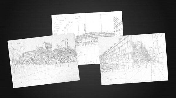 Stockholm Central, sketch drawings (1996)